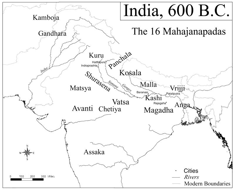 "The most powerful states of the sixth century BCE | Mahajanapadas refers to the great kingdoms and oligarchies stretching along the Indo-Gangetic plains. The two capitals of Magadha–Rajagriha and Pataliputra–are also indicated. | Author: User ""Kmusser"" 
