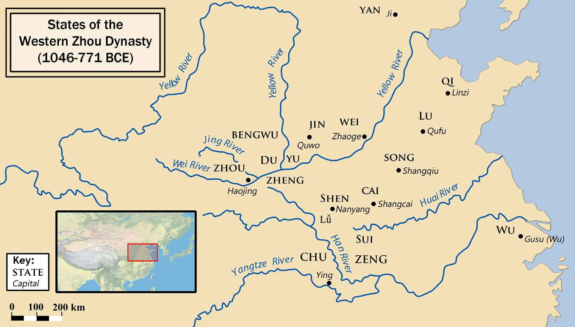 "The Western Zhou Dynasty | The capital was located along the Wei River valley, at Haojing. The names of states granted by early Zhou kings to kinsmen and allies, along with their capitals, are indicated. | Author: User ""Philg88"" 