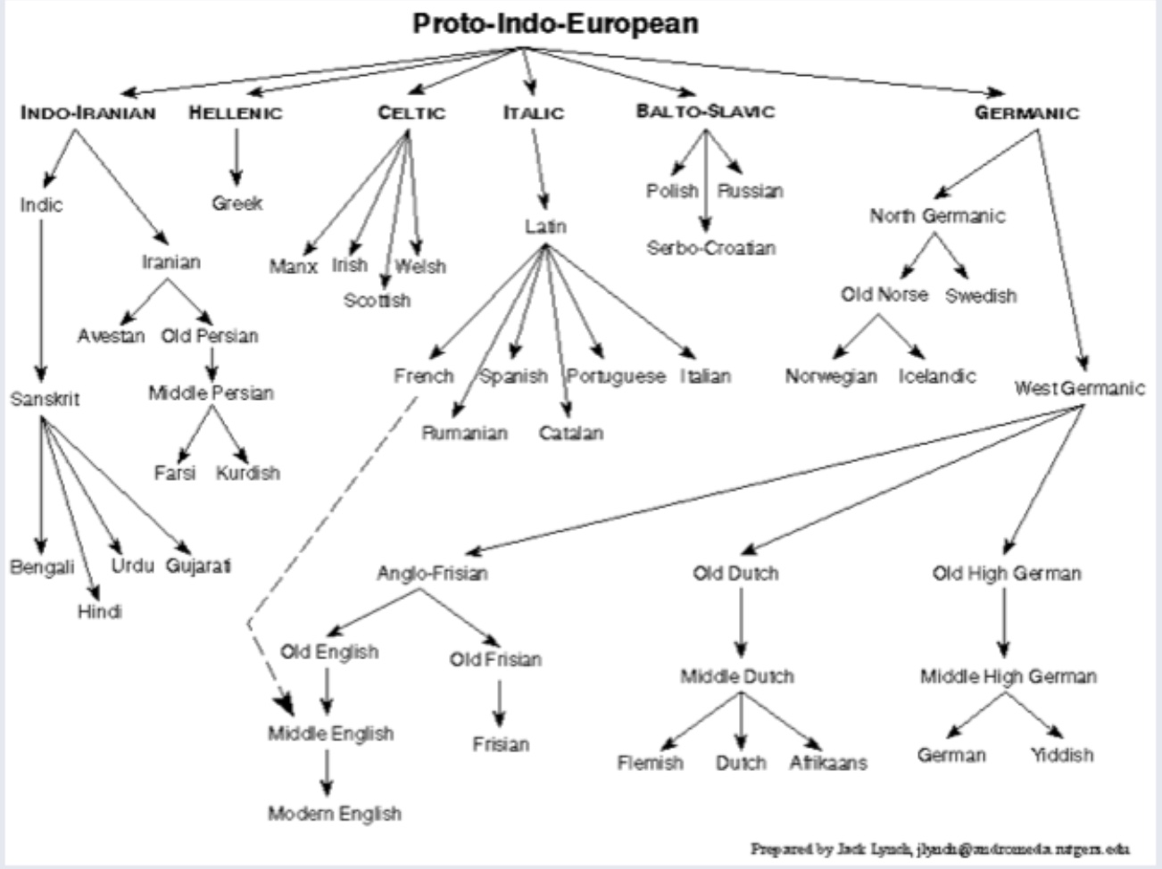 Proto-Indo-European Family | Chart showing the relationship between some languages in the Indo-European Family. Note the location of Sanskrit. | Author: Jack Lynch | Source: Rutgers | License: © Jack Lynch. Used with permission.
