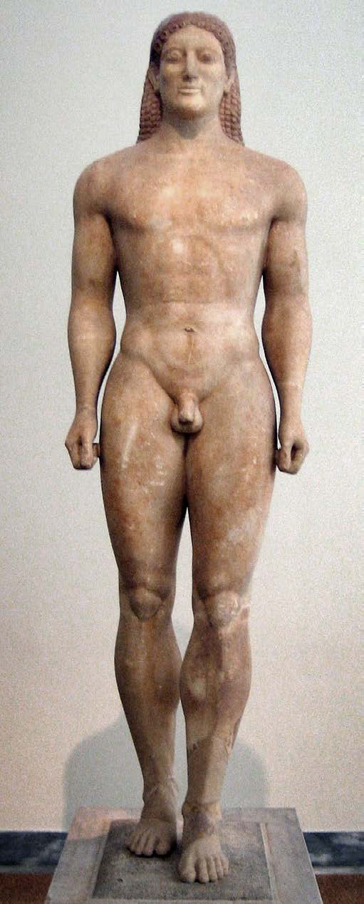 "Archaic kouros (youth) statue, c. 530 BC | Note the Egyptian hairstyle and body pose. | Author: User ""Mountain"" 