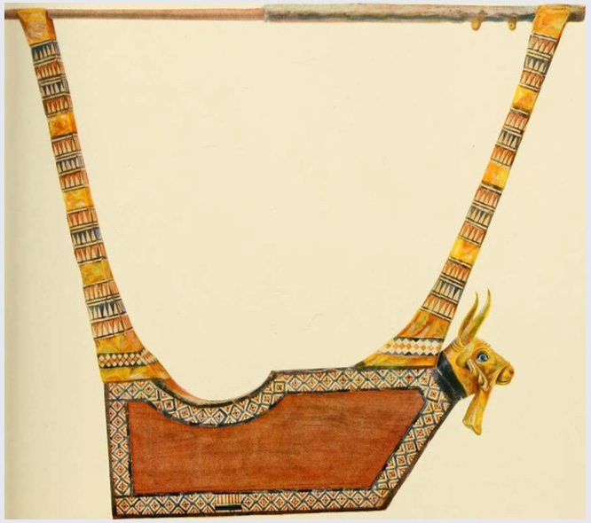"The Queen's Lyre is a reconstructed musical instrument modeled after a lyre found by archaeologist Leonard Wooley in one of the graves at the Royal Cemetery of Ur. The original instrument has been dated to c. 2500 BCE. The reconstructed instrument is held at the British Museum in London. | Author: User ""Fae"" 