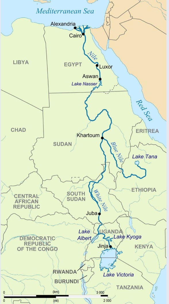 "The Path of the Nile | The White Nile originates near Lake Victoria, in the Great Lakes region of East Africa. The Blue Nile flows from the Ethiopian Highlands. Both rivers merge at Khartoum, in present day Sudan, and  ow northward to empty into the Mediterranean Sea. | Author: User ""Hel-hama"" 