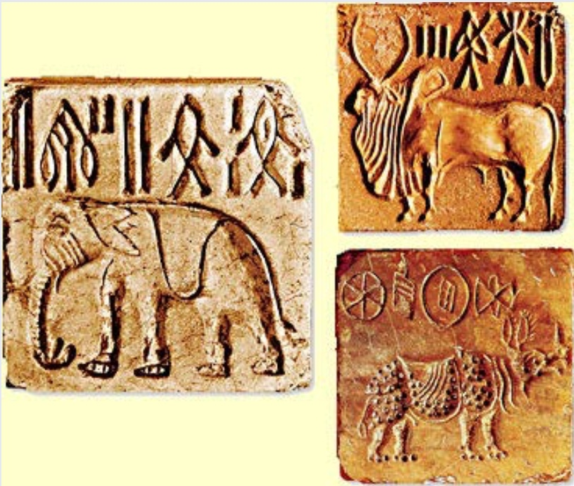"Seals from Indus Valley cities | These were made from  red steatite and used to imprint the identity of owners on goods. | Author: User ""MrABlair23"" 