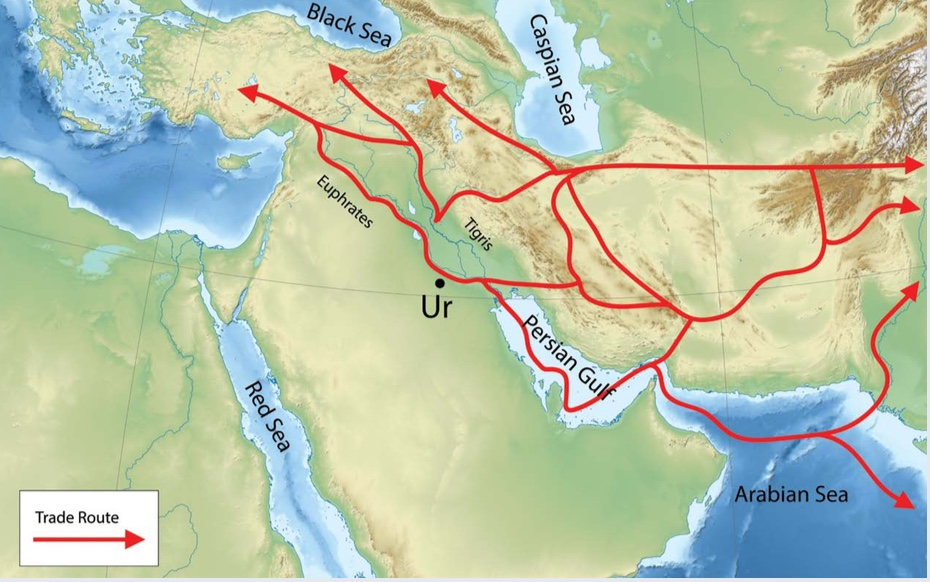 In the third millennium BCE, people in Lower Mesopotamia used river routes to trade northward. They also used sea routes through the Persian Gulf, and they connected with traders to the east by crossing the Iranian Plateau. | Author: Corey Parson | Source: Original Work | License: CC BY-SA 4.0