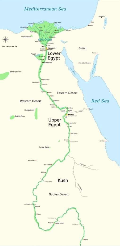 Upper and Lower Egypt | Note the narrowness of the floodplain, marked in green. The narrow  floodplain, usually not more than 15 miles wide and often considerably less, encouraged high population densities close to the Nile River. | Author: Jeff Dahl | Source: Wikimedia Commons | License: CC BY-SA 4.0