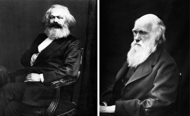 Portraits of Marx (left) by John Jabez Edwin Mayall and Darwin (right) by J. Cameron. Licensed under Public Domain via Wikimedia Commons.