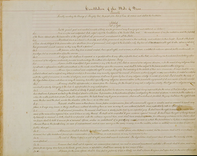Texas Constitution of 1876 Page One