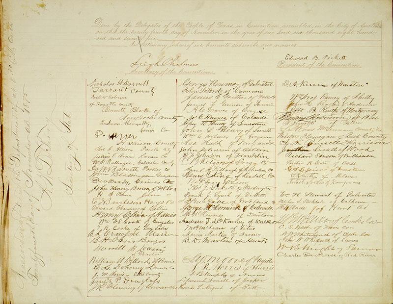 1876 Constitution Signature Page