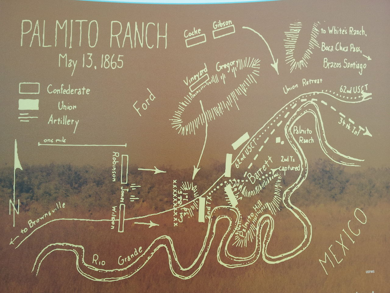Map of the battle of Palmito Ranch