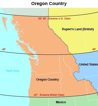"""A map of the Oregon territory during the period of joint occupation by the United States and Great Britain shows the area whose ownership was contested by the two powers. The uppermost region is labeled """"Rupert's Land (British),"""" which lies in between the """"54° 40′- Extreme U.S. Claim"""" and """"49°"""" lines. The central region, which lies in between the """"49°"""" and """"42° - Extreme British Claim"""" lines, contains Oregon Country. Beneath the """"42° - Extreme British Claim"""" line lies Mexico."""