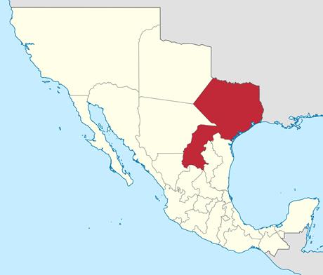Map of Coahuila and Texas