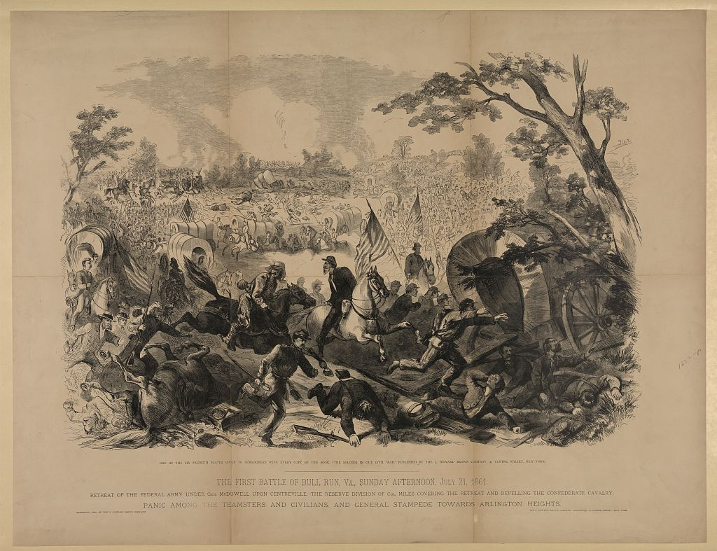 """""""The First Battle of Bull Run, Va., Sunday Afternoon, July 21, 1861,"""" Author unknown [Public domain], via Library of Congress"""