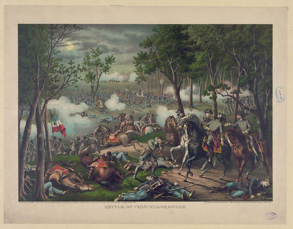 """Battle of Chancellorsville"" (cropped) by Kurz & Allison [Public domain], via Library of Congress"