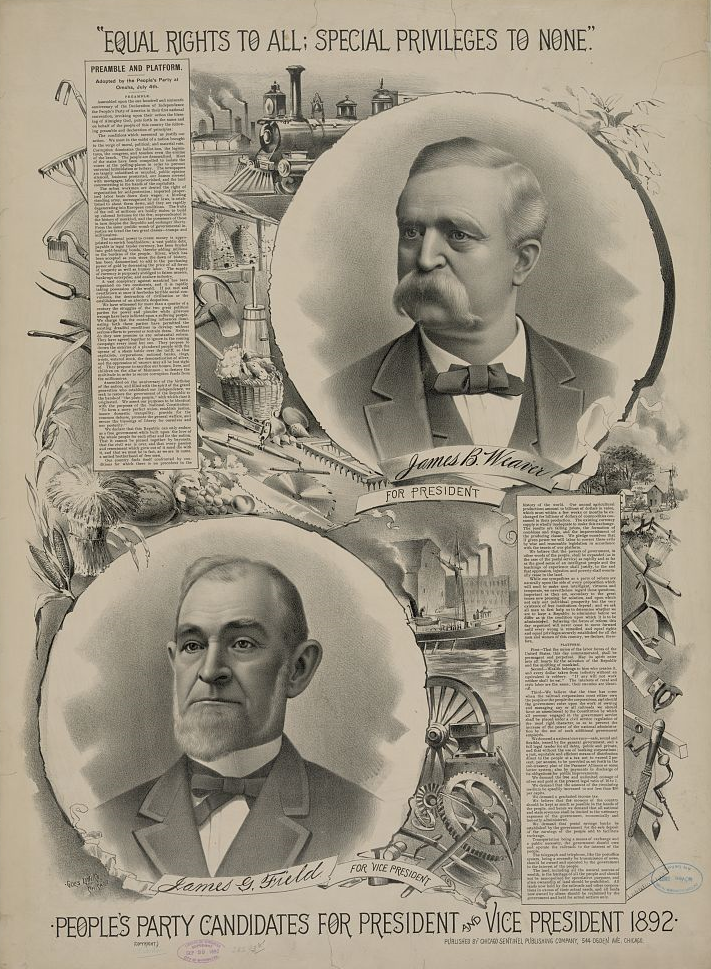 """People's party candidates for president and vice president 1892."" Author unknown (Library of Congress), Licensed under Public Domain via Commons"