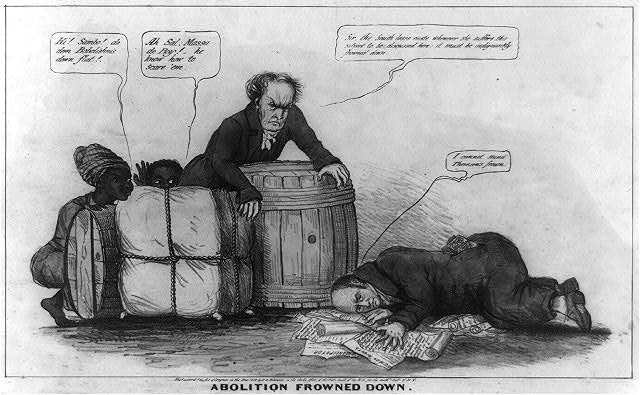 "Political cartoon depicting the enforcement of the ""gag rule,"" prohibiting the discussion of the subject of abolition in the House of Representatives.  John Quincy Adams is shown cowering over a pile of petitions with 