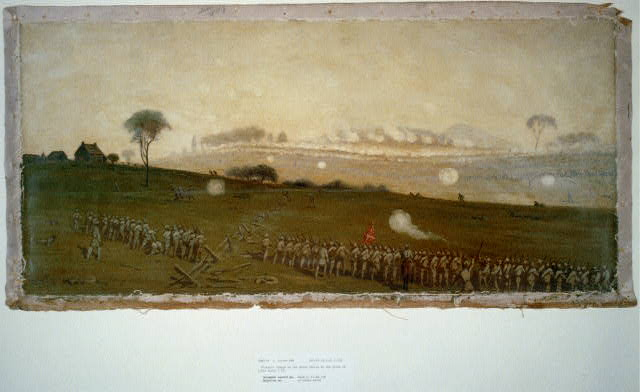 """""""Picketts charge on the Union centre at the grove of trees about 3 PM"""" by Edwin Forbes [Public domain], via Library of Congress"""