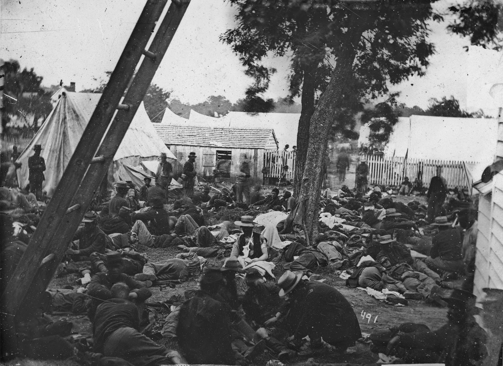 """""""Field hospital after the Battle of Savage's Station,"""" by James F. Gibson, [Public domain], via Wikimedia Commons"""