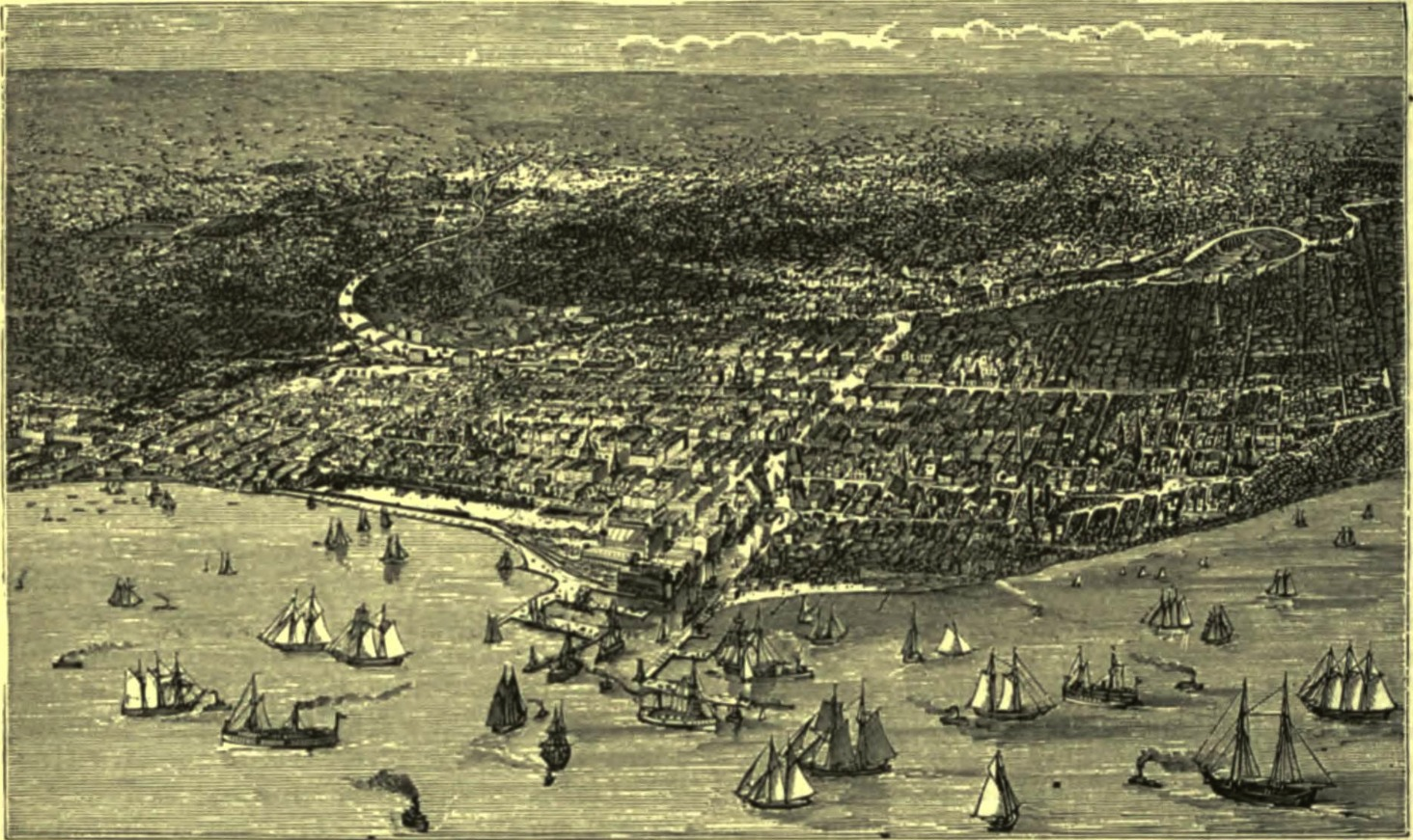 Chicago, shortly before 1871 By unknown artist (The American Cyclopædia, v. 4, 1879, p. 398.) [Public domain], via Wikimedia Commons