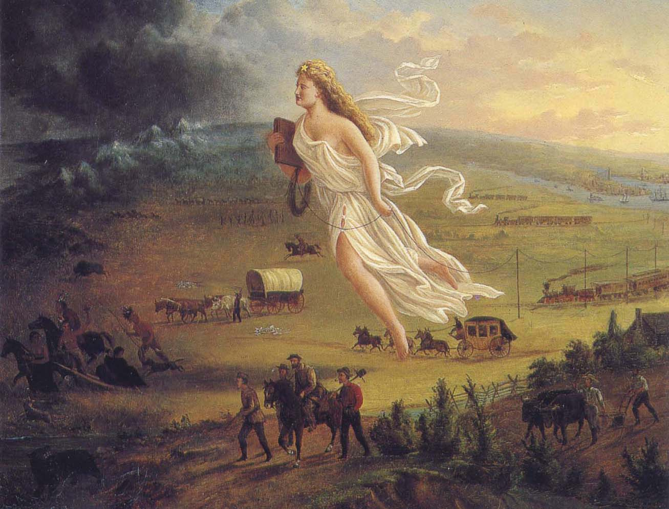 """""""American Progress"""" By John Gast (painter) (scan or photograph of 1872 painting) [Public domain], via Wikimedia Commons"""