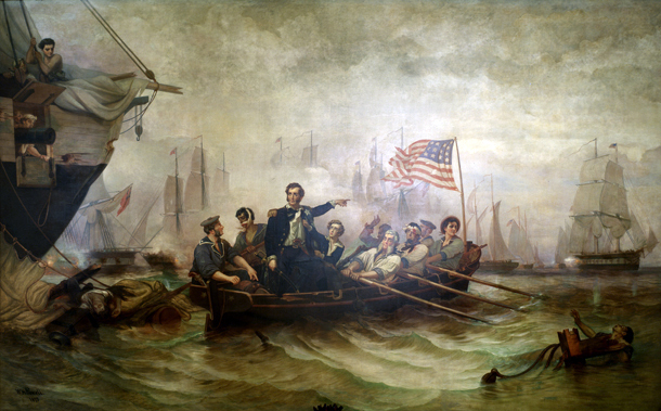 """""""Battle of Lake Erie"""" by William Henry Powell [Public domain], via Wikimedia Commons"""