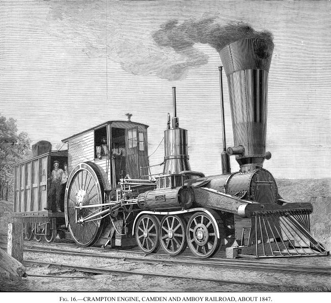 """Crampton Engine, Camden and Amboy Railroad, about 1847."" By Herbert T. Walker [Public domain], via Wikimedia Commons"