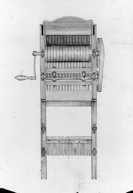 US Patent Office drawing of Eli Whitney's cotton gin, circa 1795. Public domain, via Wikimedia Commons