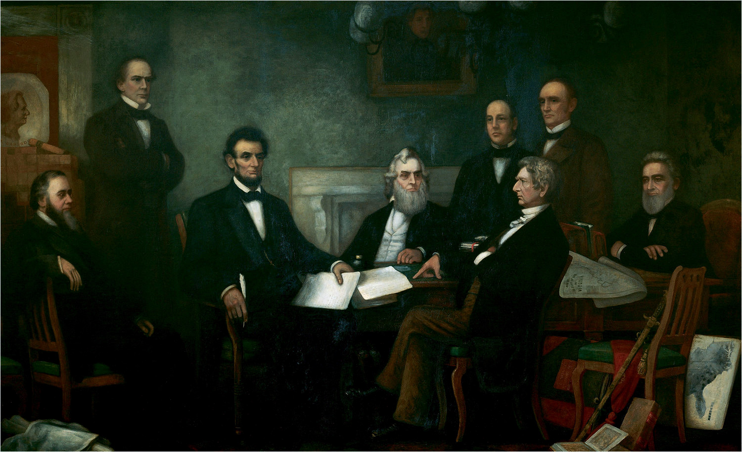 """""""First reading of the Emancipation Proclamation of President Lincoln,"""" by Francis Bicknell Carpenter [Public domain], via Wikimedia Commons Shown from left to right are: Edwin M. Stanton, secretary of war (seated); Salmon P. Chase, secretary of the treasury (standing); Abraham Lincoln; Gideon Welles, secretary of the navy (seated); Caleb Blood Smith, secretary of the interior (standing); William H. Seward, secretary of state (seated); Montgomery Blair, postmaster general (standing); Edward Bates, attorney general (seated)."""