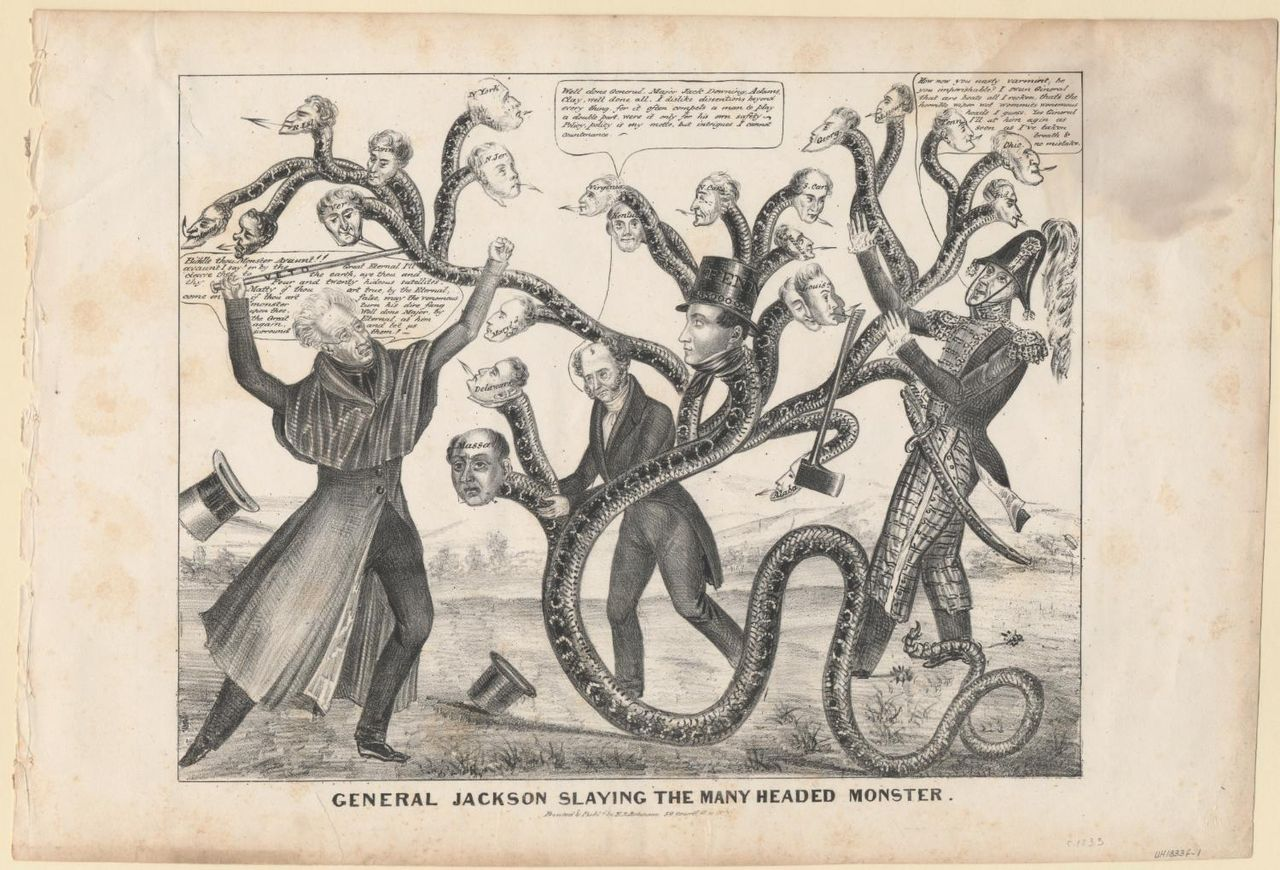 This political cartoon depicts Jackson battling a many-headed monster that represents the bank. [Public Domain]  via Wikimedia Commons.