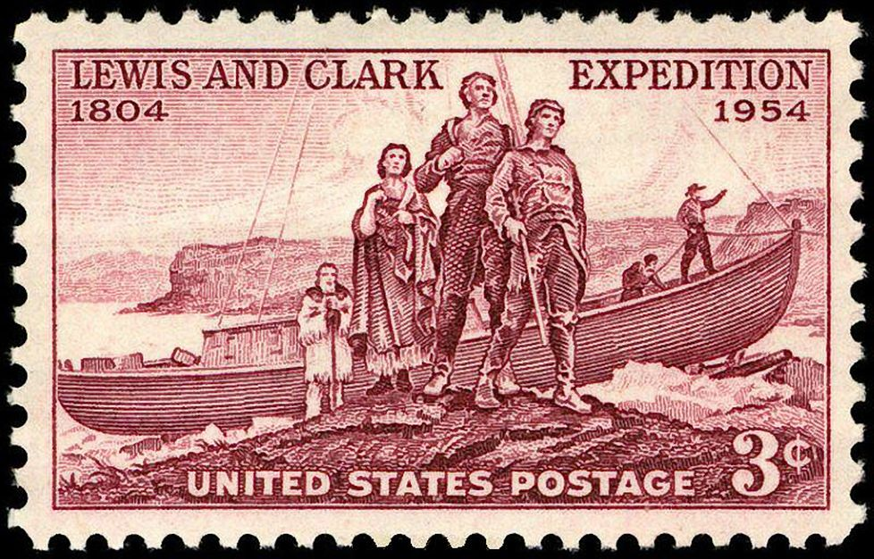 Lewis and Clark Expedition commemorative postage stamp, showing the members of the expedition in front of a boat.