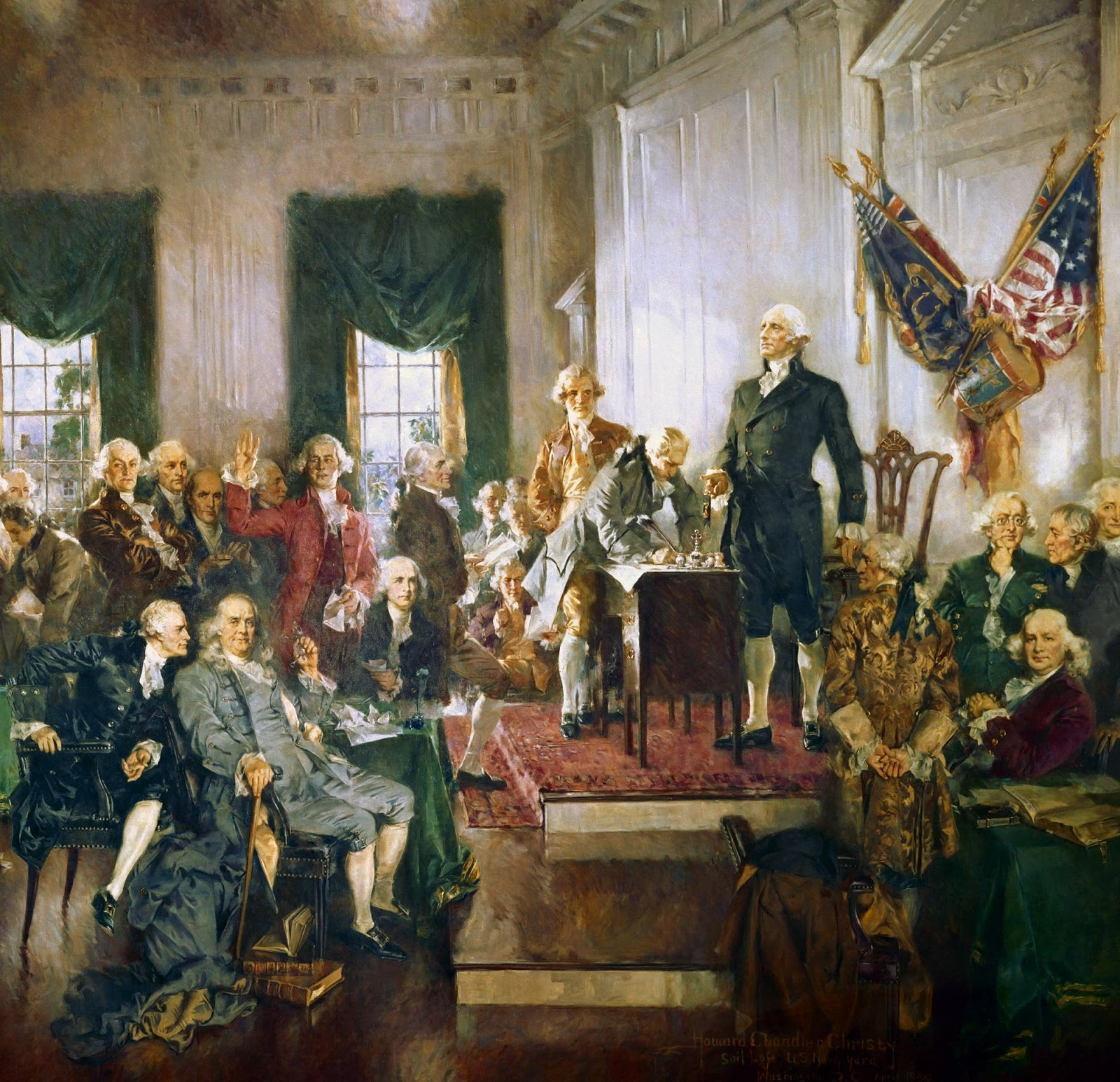Scene at the Signing of the Constitution of the United States by Howard Chandler Christy [Public Domain], via Wikimedia Commons; modified (crop)