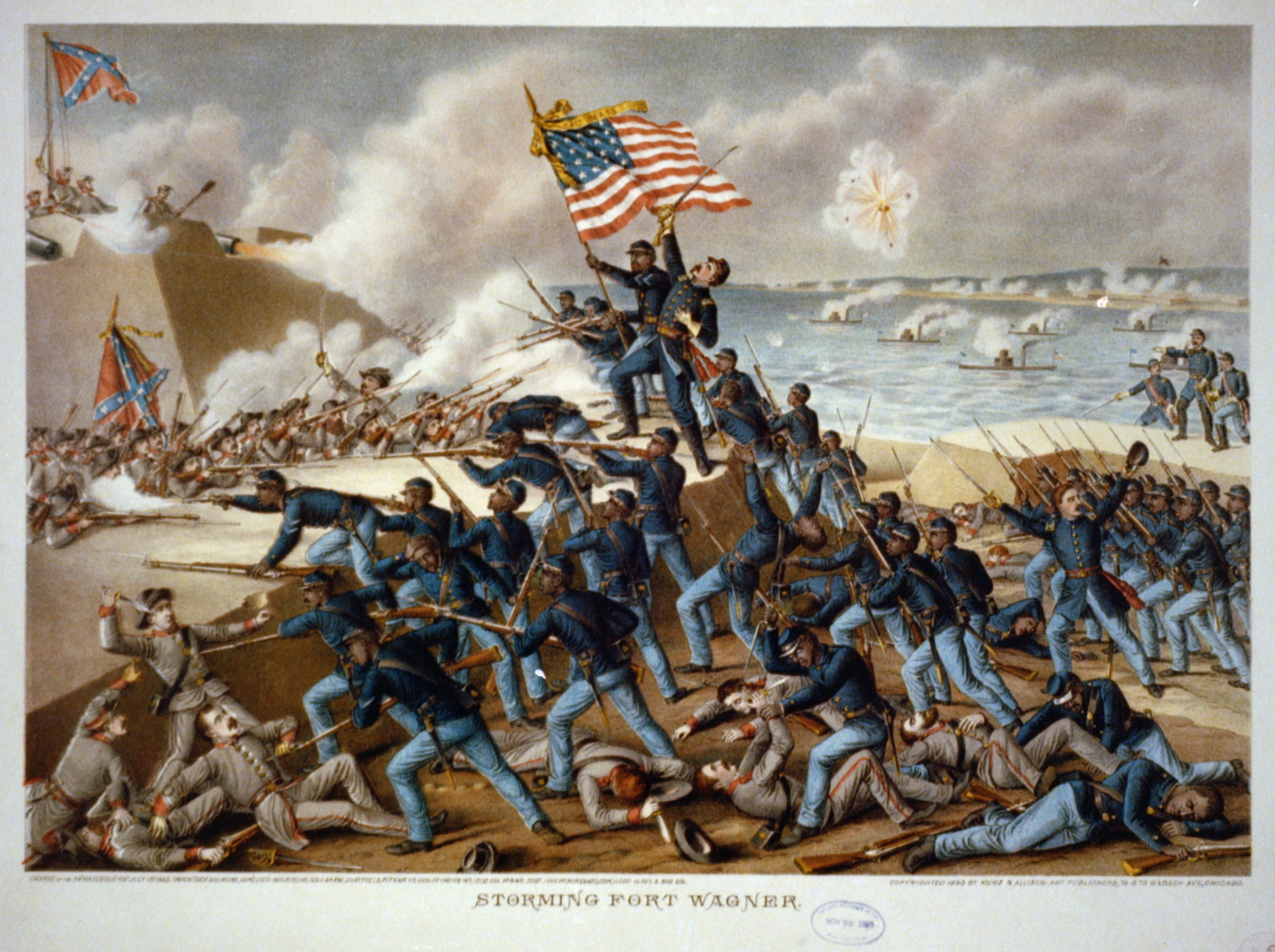 """54th Massachusetts Volunteer Infantry Regiment """"Storming Fort Wagner"""" by Kurz and Allison [Public domain], (Library of Congress), via Wikimedia Commons."""