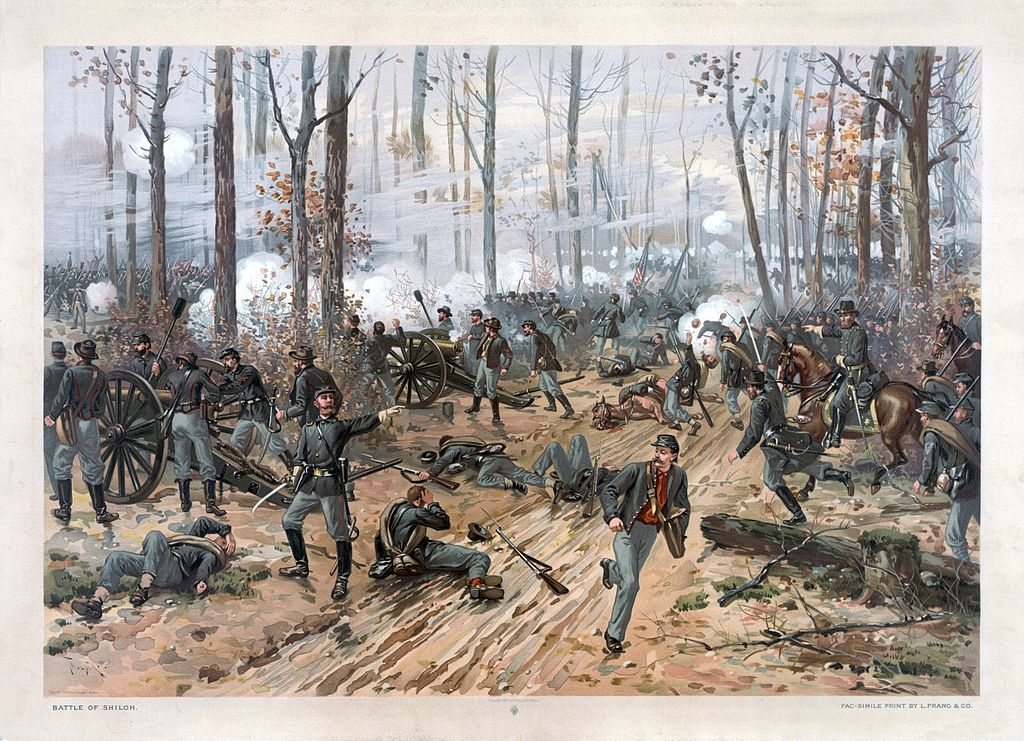 """""""Battle of Shiloh"""" by L. Prang and Co. (Library of Congress), [Public domain], restoration by Adam Cuerden, via Wikimedia Commons"""