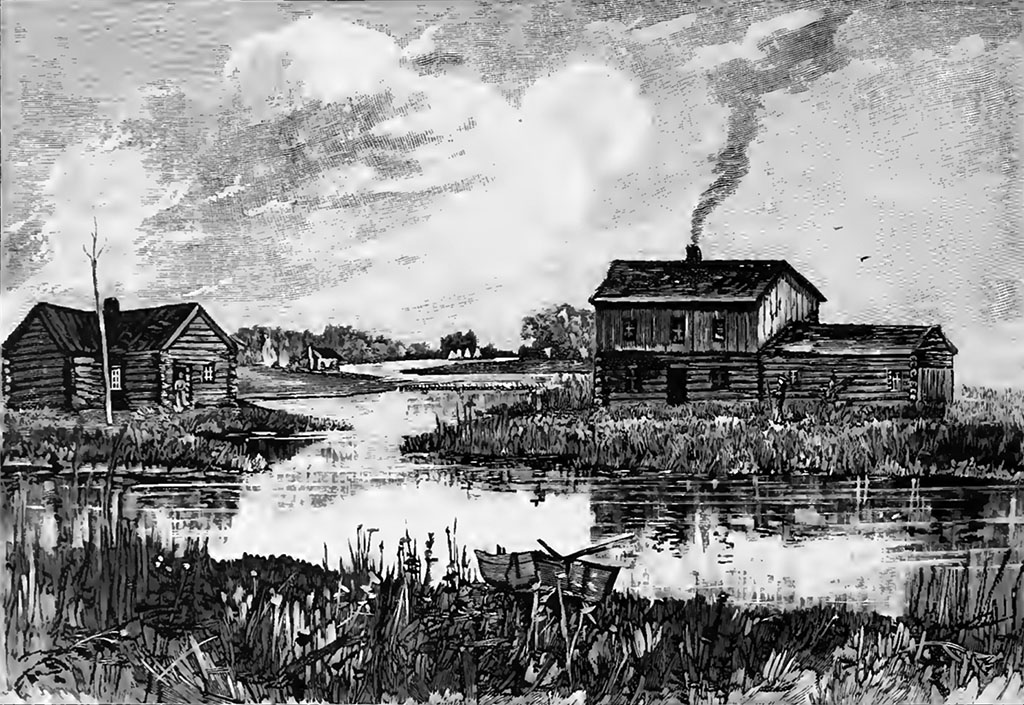 """""""Imagined view of Wolf Point, Chicago, Illinois, USA as it might have appeared in 1830"""" By Alfred Theodore Andreas (1839–1900) (History of Chicago [1]) [Public domain], via Wikimedia Commons"""