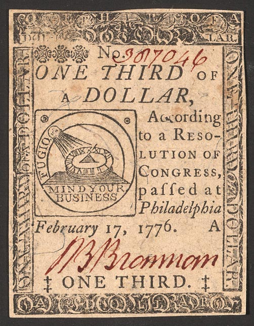 Continental currency - 1/3 dollar. Public Domain.