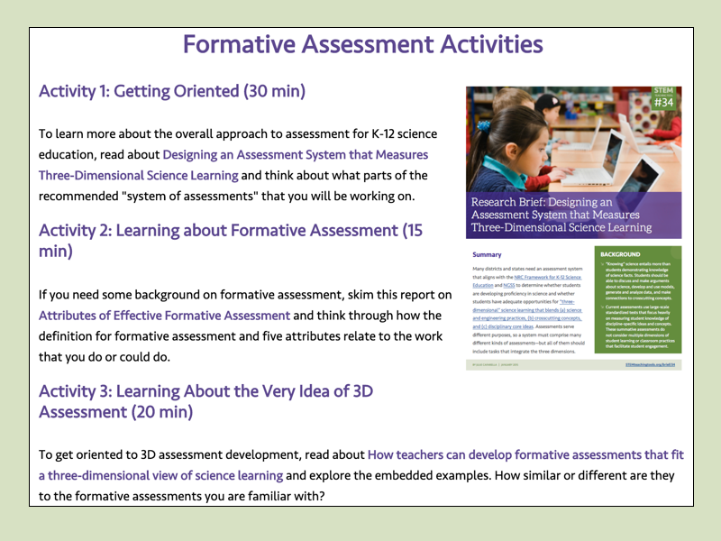 Task 38 : Formative Assessment Activities