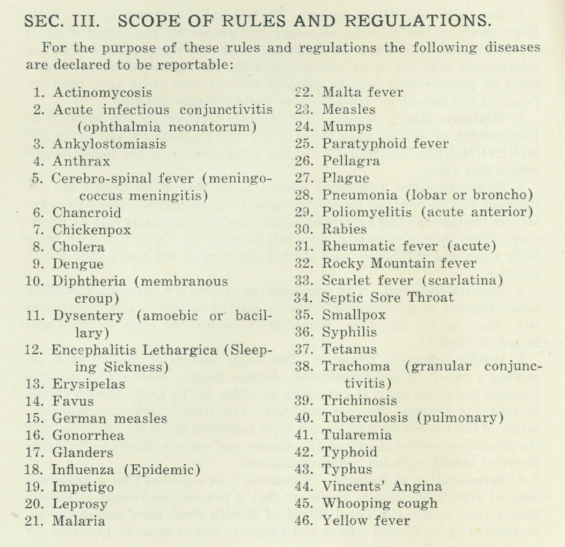 School document Reportable Diseases Required by Iowa Health Department 1927