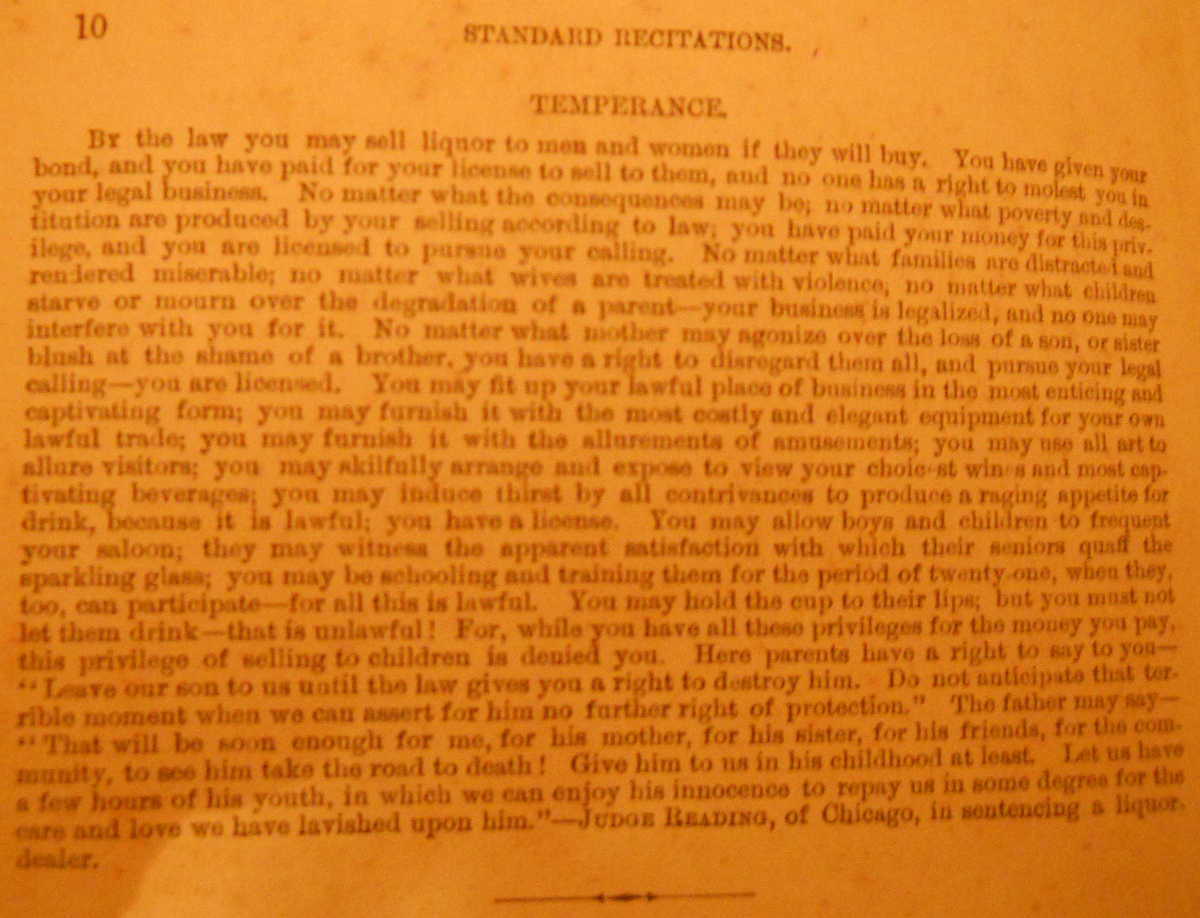 School document example of on piece on Temperance 1886 to memorize
