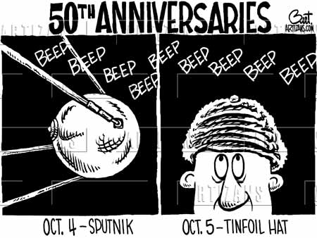 Political Cartoon: Perspective of two days, before and after the launch of Sputnik, Oct. 4, 1957 and Oct. 5, 1957