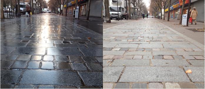 A wet street, a dry street