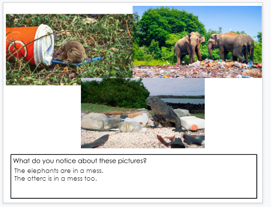 A third screenshot of author, M.Moore's student responses to noticings about trash in Google Slides