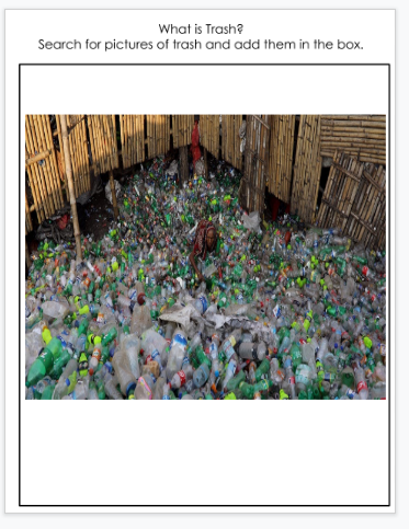 A second student example of pictures of trash found in online research