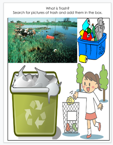 A third student examples of pictures of trash found in online research