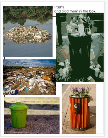 Student examples of pictures of trash found in online research