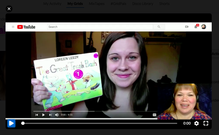 Screenshot of Screencastify from author, L.Cobar, of YouTube reading of the Great Trash Bash.
