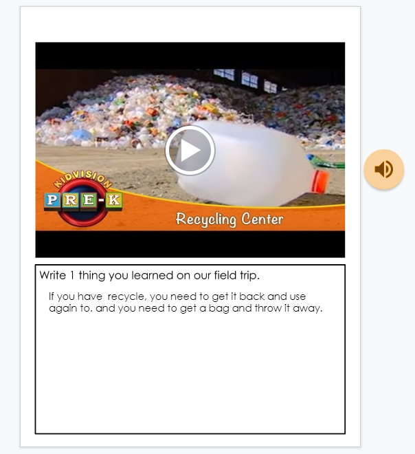 Screenshot of author, M. Moore's student responses for virtual field trip in Google Slides.