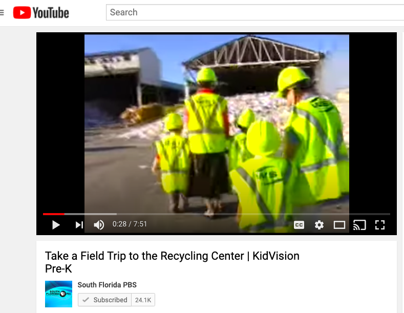 Screenshot of virtual fieldtrip Taking a Trip to the Recycling Center