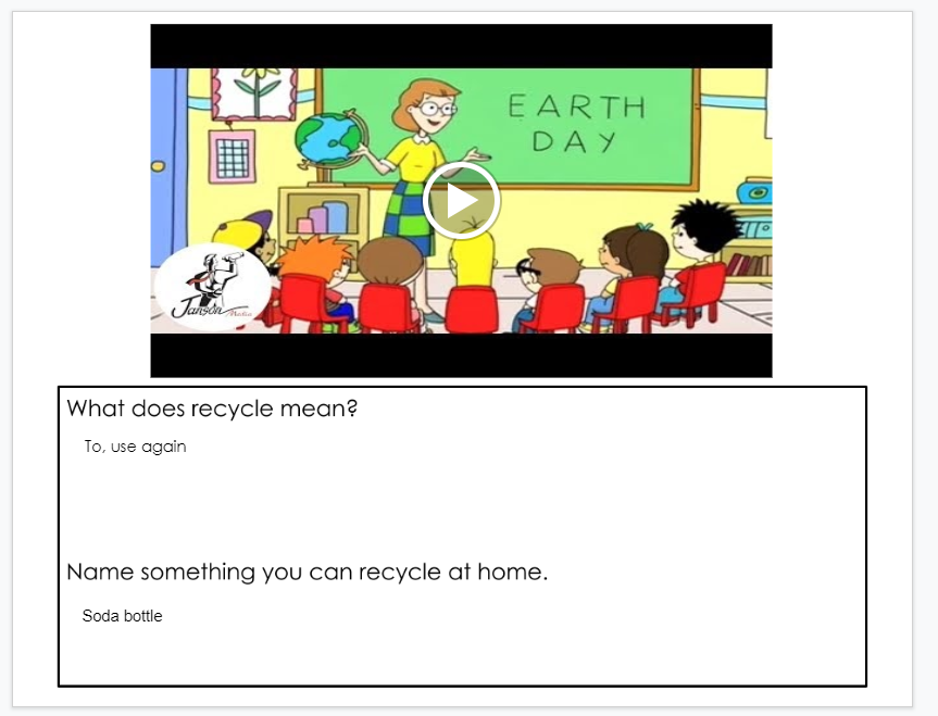 Screenshot students' responses in Google Slides to Betsy's Kindergarten Adventure: Happy Earth Day