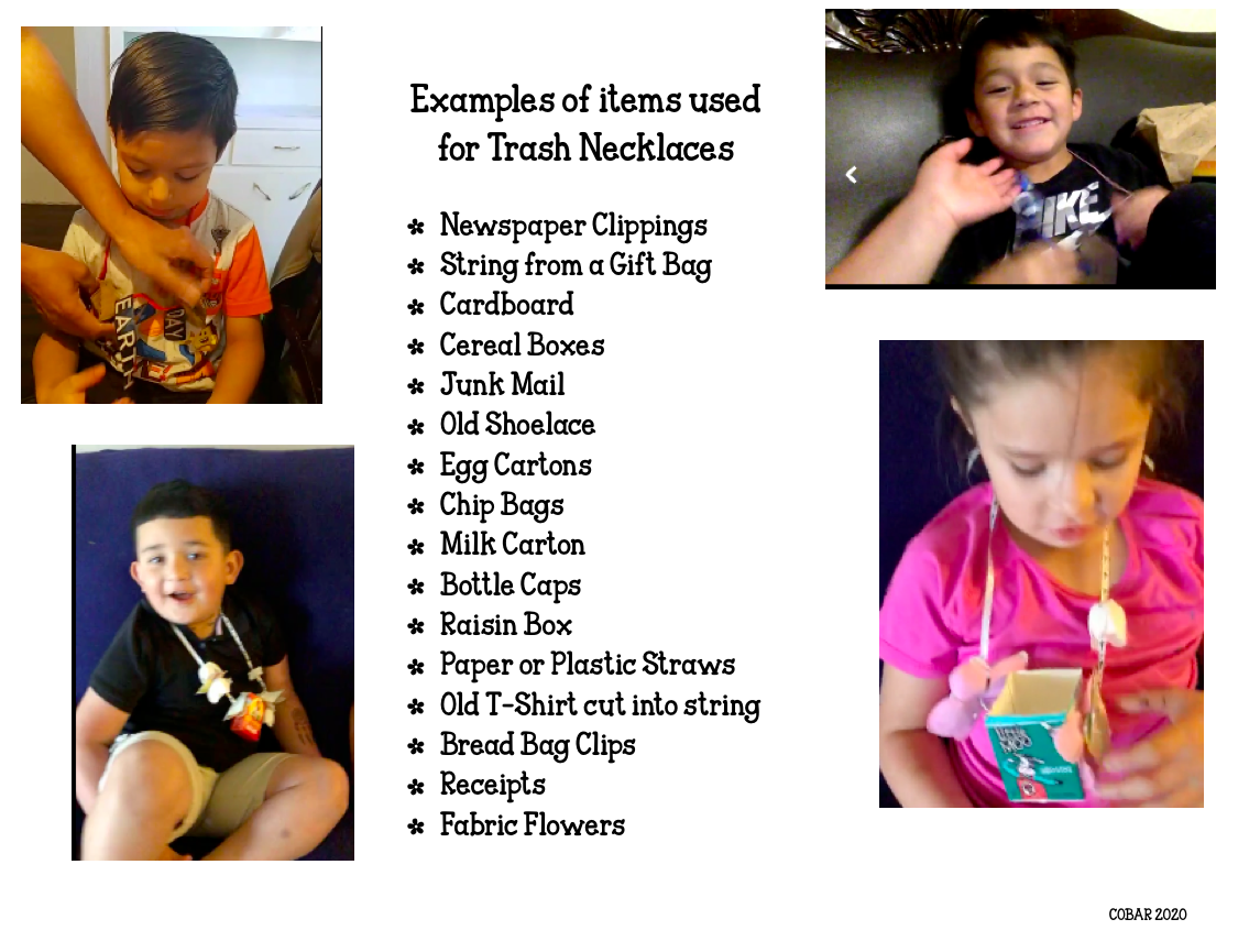 Screenshot of author's students' trash necklaces.