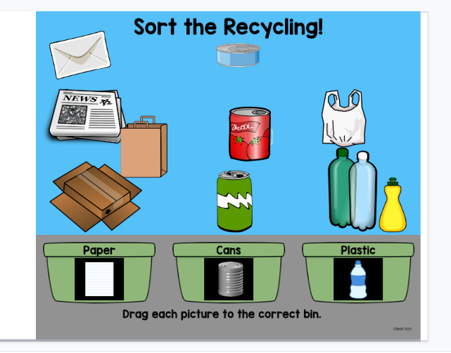 Screenshot of Sort the Recycling in Google Slides