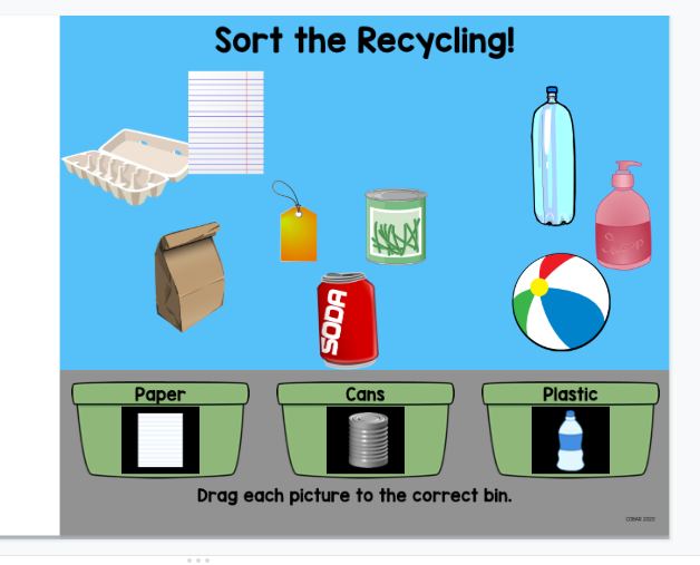 Screenshot of next Sort the Recycling in Google Slides